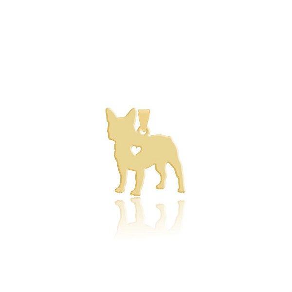 Pingente Bulldog Francês folheado em ouro 18k