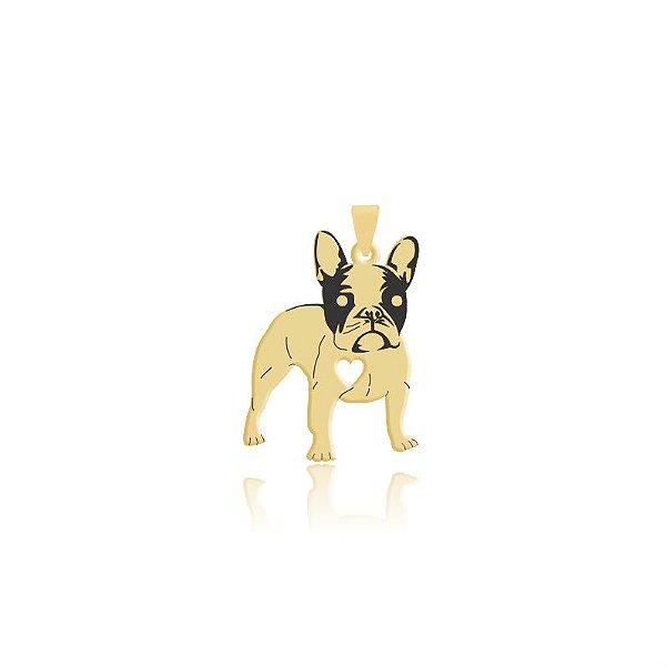 Pingente Boston Terrier folheado em ouro 18k