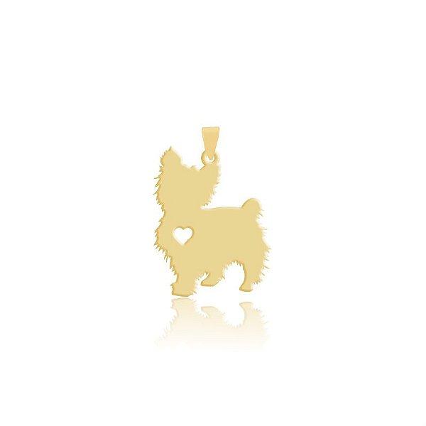 Pingente Yorkshire folheado em ouro 18k