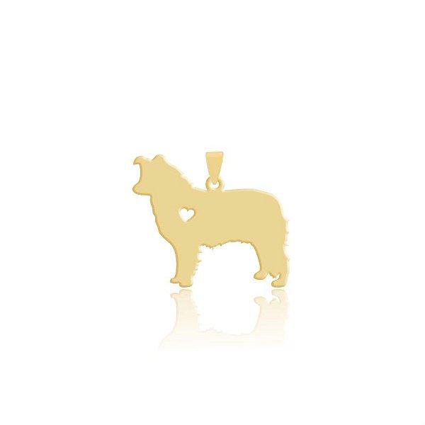 Pingente Border Collie pelo curto folheado em ouro 18k
