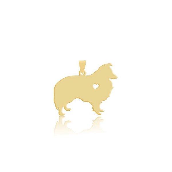 Pingente Border Collie pelo longo folheado em ouro 18k