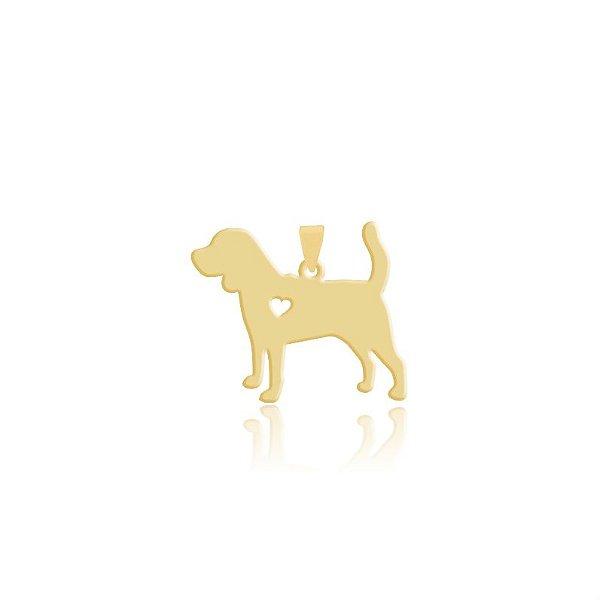 Pingente Beagle folheado em ouro 18k
