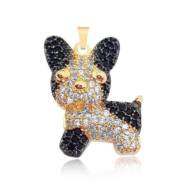 Pingente cachorro com zircônia negras e brancas folheado em ouro 18k