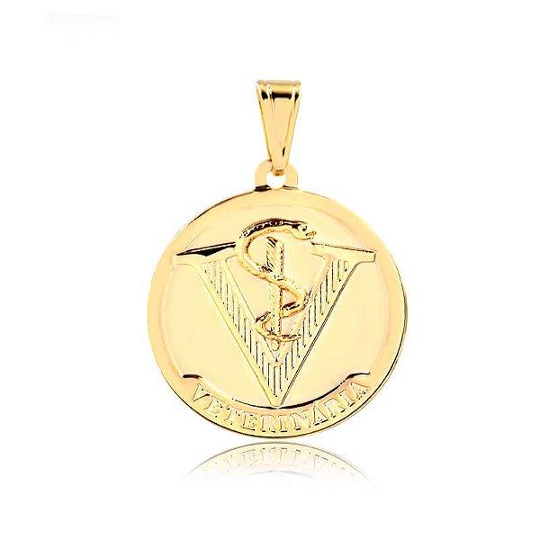 Pingente Medicina Veterinária folheado em ouro 18k