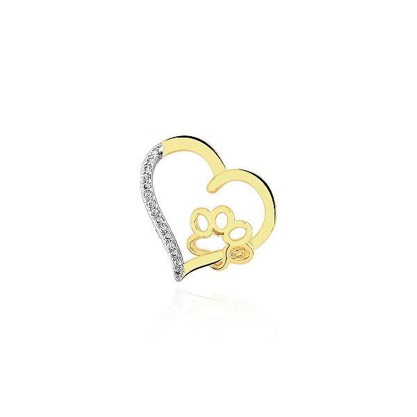 Pingente coração vazado com pata folheado em ouro 18k
