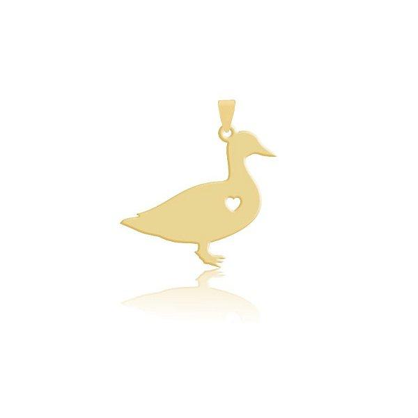Pingente Pato tradicional folheado em ouro 18k