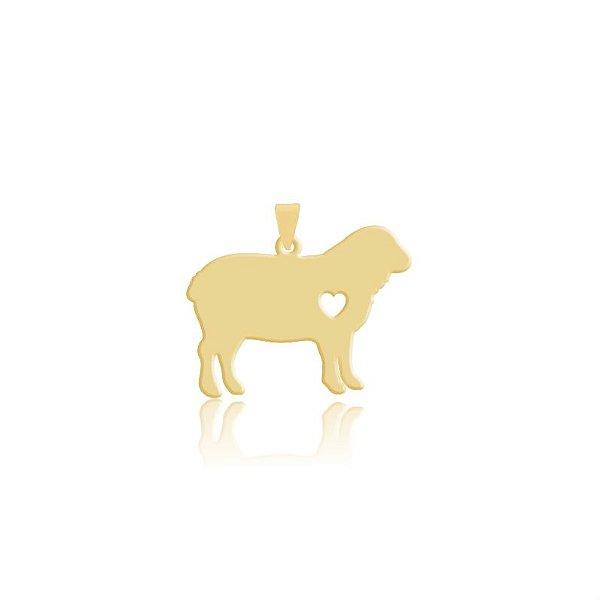 Pingente Ovelha com coração vazado folheado em ouro 18k