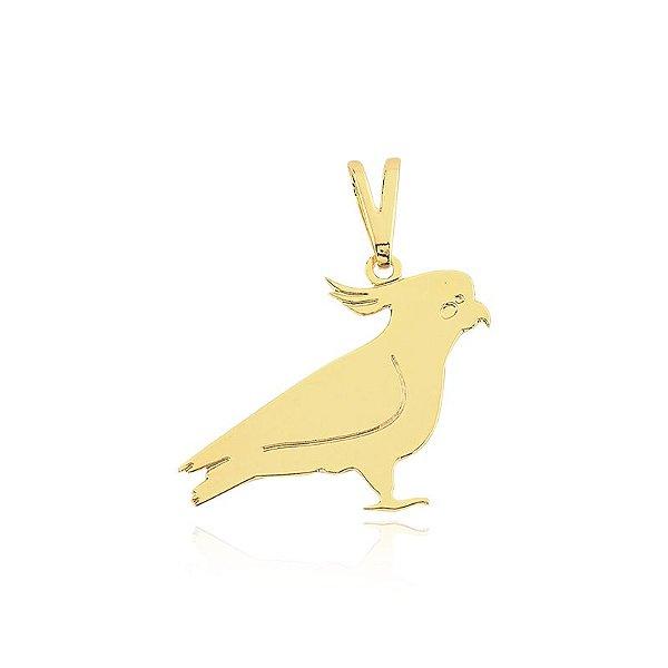 Pingente Calopsita liso folheado em ouro 18k