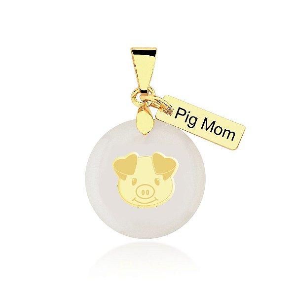 Pingente madrepérola Pig Mom rosto folheado em ouro 18k