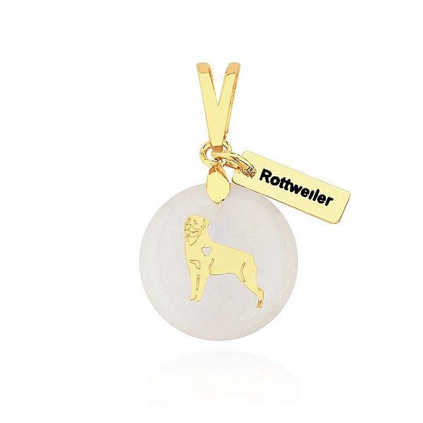 Pingente madrepérola raça Rottweiler folheado em ouro 18k
