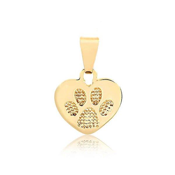 Pingente Pata em formato de coração com textura folheado em ouro 18k
