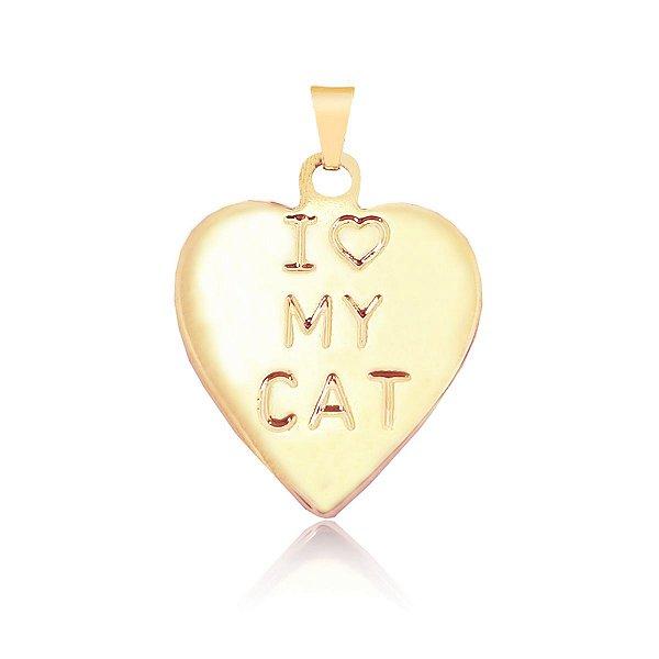 Pingente coração I love My Cat folheado em ouro 18k