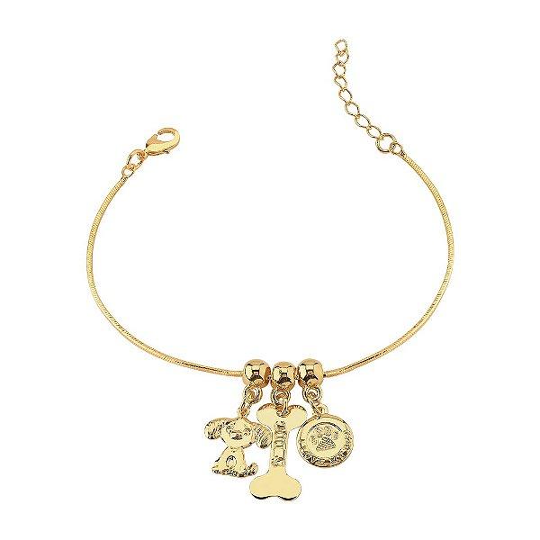 Pulseira com pingente coração, cachorro e osso folheado em ouro 18k