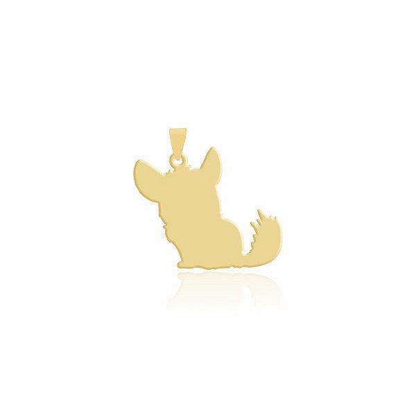 Pingente Chinchila folheado em ouro 18k