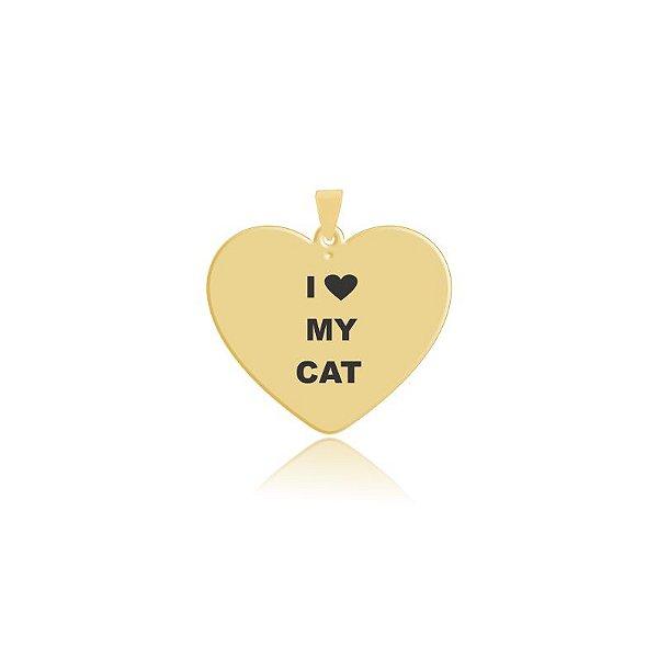 Pingente em formato de coração I Love My Cat folheado em ouro 18k