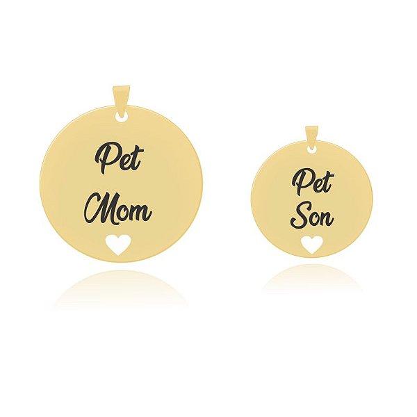 Combo colar com pingente Pet Mom e Pet Son folheado em ouro 18k