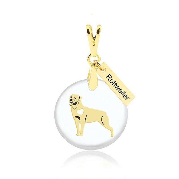 Pingente acrílico da raça Rottweiler folheado em ouro 18K