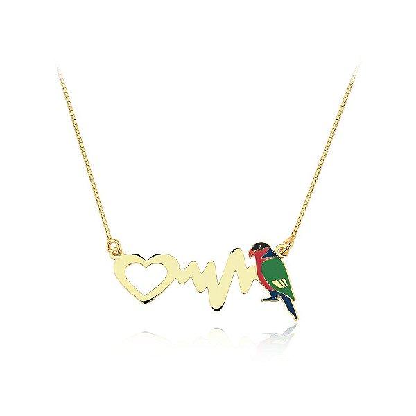 Colar batimento cardíaco com ave Lóris colorido folheado em ouro 18k