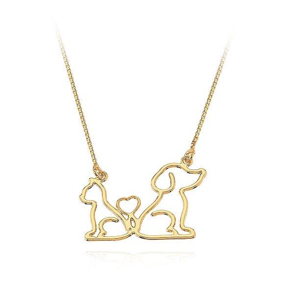 Colar cão e gato, ou dois cães ou dois gatos folheado em ouro 18k