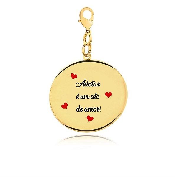 Chaveiro adotar é um ato de amor folheado em ouro 18k