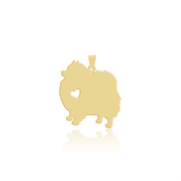 Pingente Lulu da Pomerânia folheado em ouro 18k