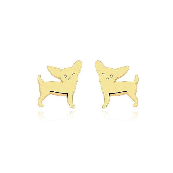 Brinco cachorro da raça Pinscher folheado em ouro 18k
