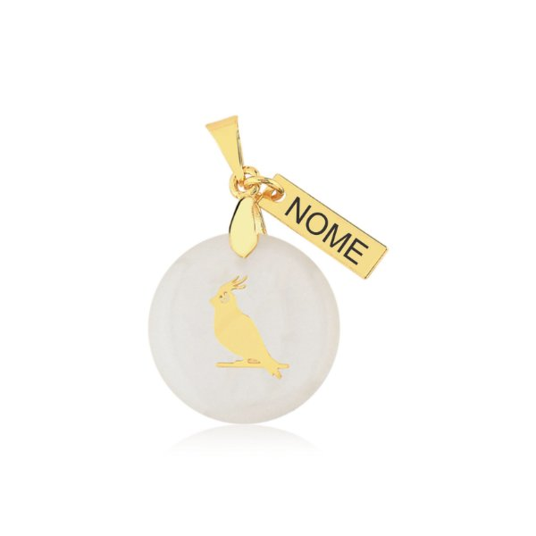 Pingente em madrepérola nome personalizado (qualquer animal padrão de raça, espécie e nome) folheado em ouro 18k