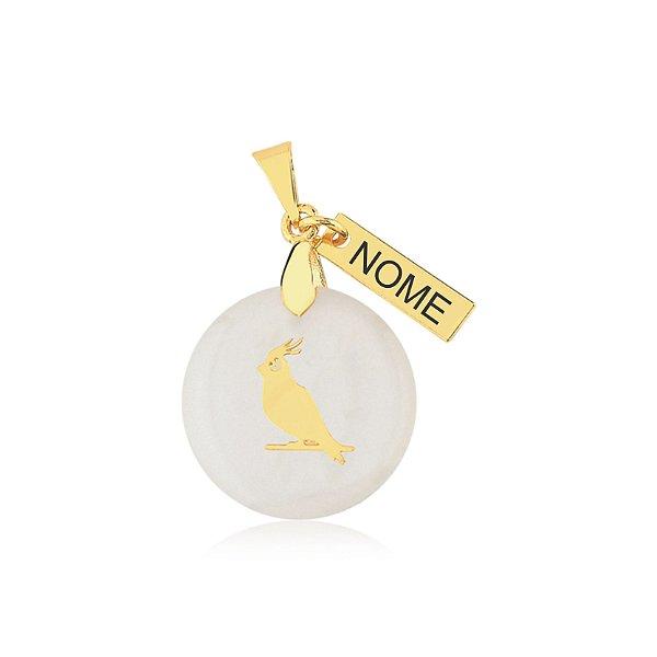 Pingente madrepérola calopsita nome personalizado folheado em ouro 18k