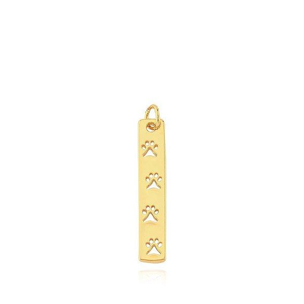 Pingente retangular pêndulo com patas vazadas folheado em ouro 18k