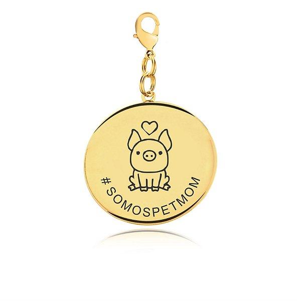 Chaveiro PetMom pig folheado em ouro 18k
