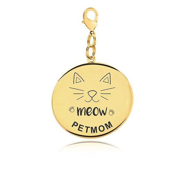 Chaveiro PetMom gato folheado em ouro 18k