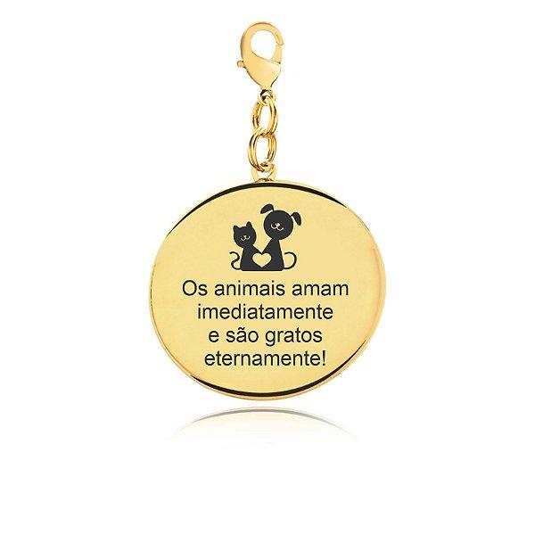 Chaveiro Pet Mom folheado em ouro 18k