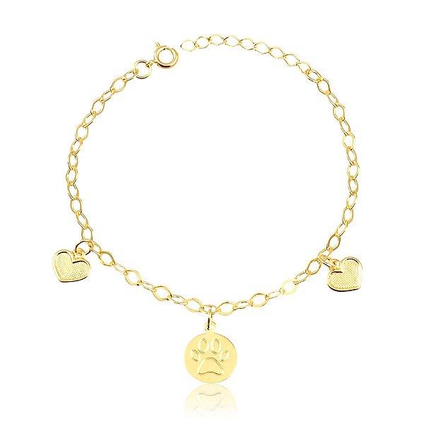 Pulseira pata vazada e corações texturizados folheado em ouro 18k