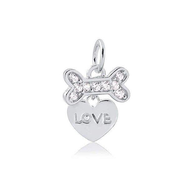 Pingente de osso com coração e a palavra Love em prata 925