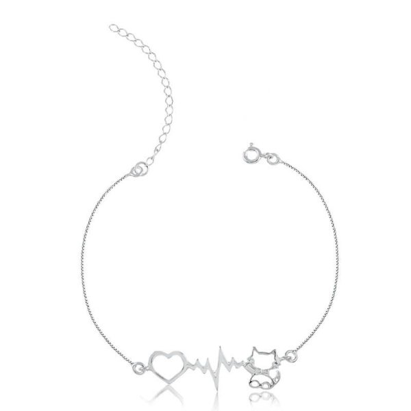 Pulseira batimento cardíaco gato em prata 925