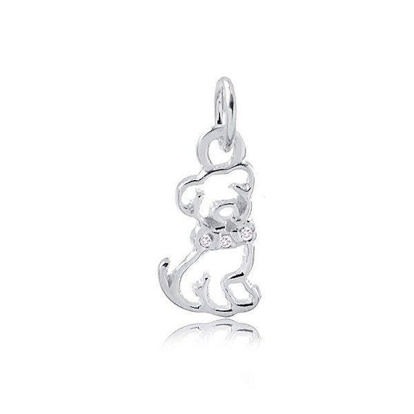Pingente cachorro vazado em prata 925