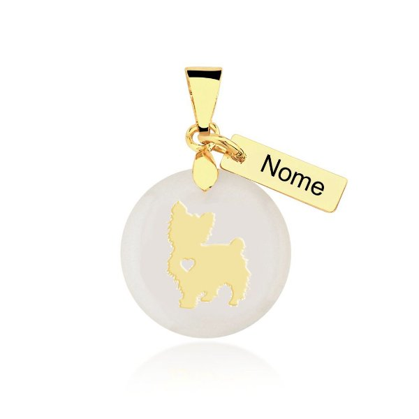 Pingente madrepérola Yorkshire nome personalizado folheado em ouro 18k