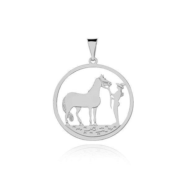 Pingente menina e cavalo em prata 925
