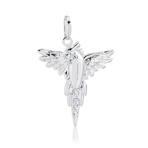 Pingente calopsita de asas abertas em prata 925