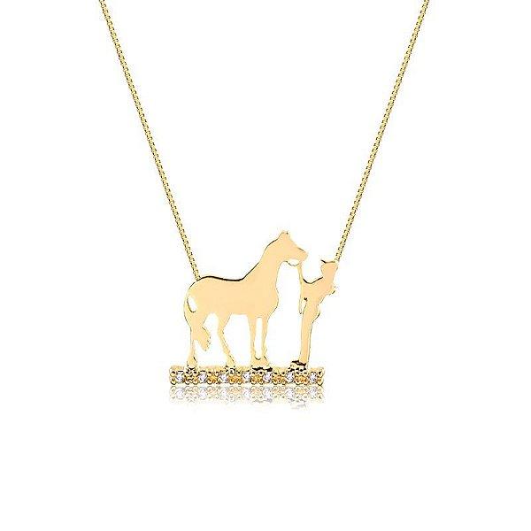 Colar menina e cavalo folheado em ouro 18K