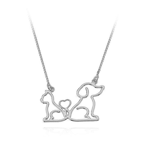 Colar cão e gato, ou dois cães ou dois gatos em prata 925
