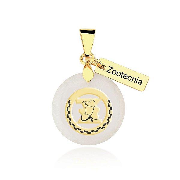 Pingente madrepérola Zootecnia folheado em ouro 18K