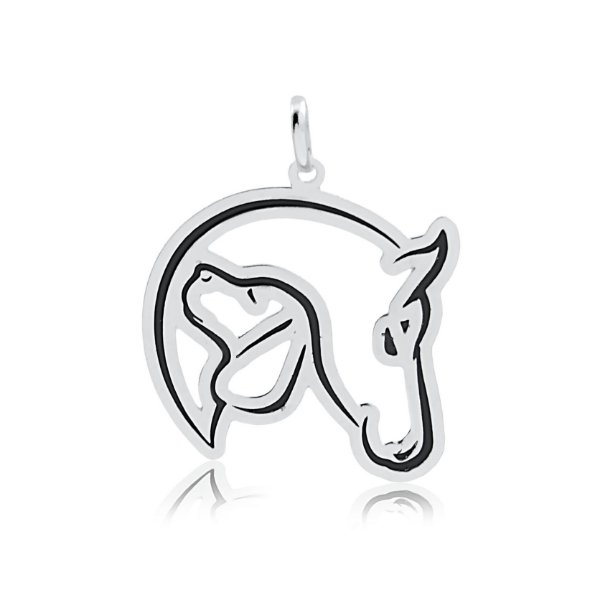 Pingente de cavalo e cão em prata 925
