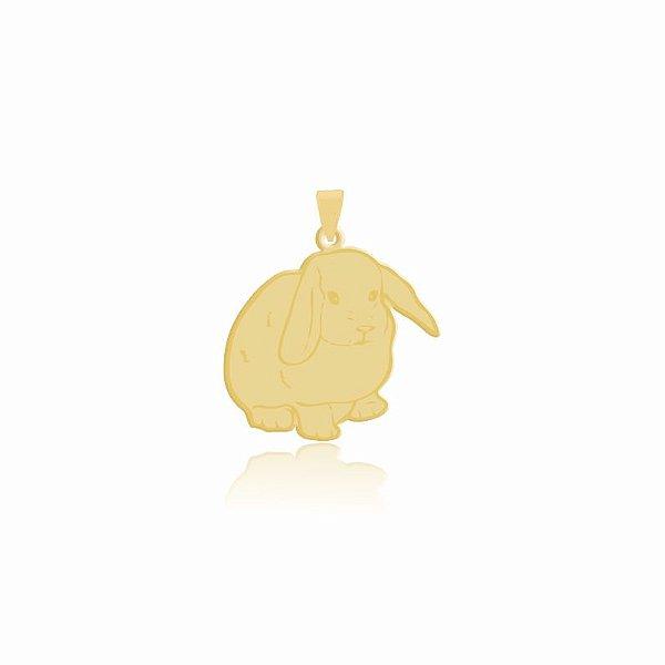 Pingente de Coelho com orelhas caídas folheado em ouro 18K