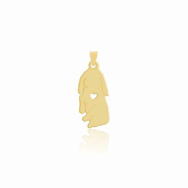 Pingente de Coelho sentado folheado em ouro 18K