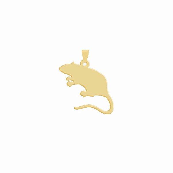 Pingente de Rato tradicional folheado em ouro 18K