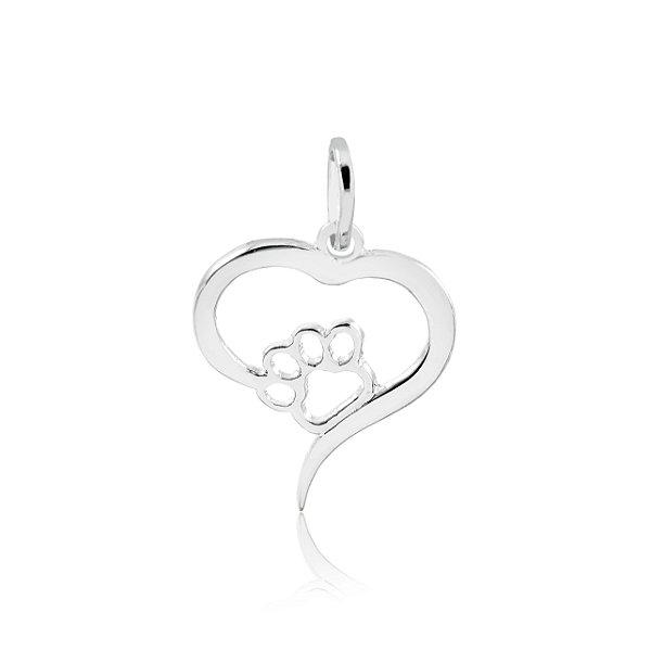 Pingente de coração com pata em prata 925