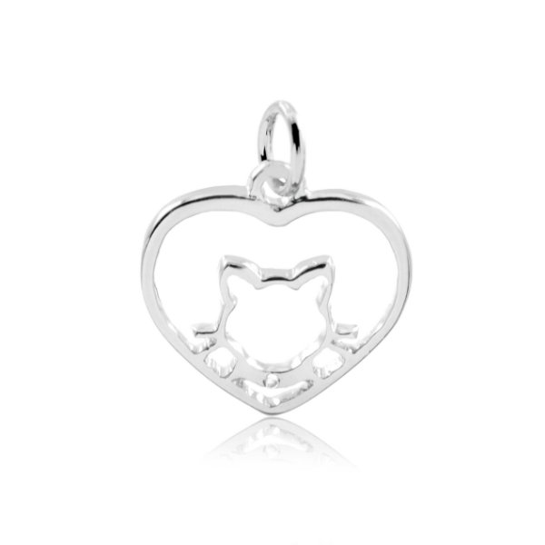 Pingente de coração com gato vazado em prata 925