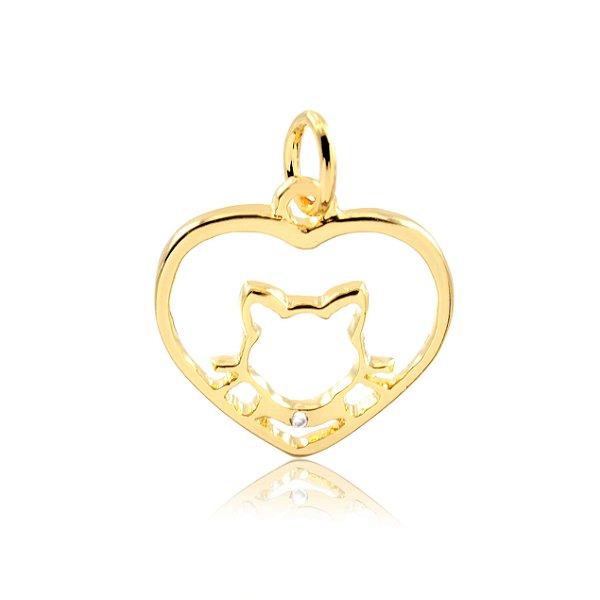 Pingente coração com gato folheado em ouro 18