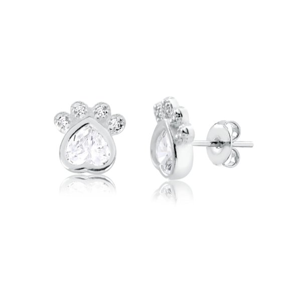 Brinco de coração pata com pedra e zirconias prata 925